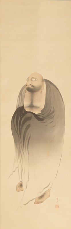 heavy-set, nearly bald standing man wearing a grey drapery covering his entire body except his head, chest and feet; large, wide nose, scowling mouth, earrings, dark beard and chest hair and hair on top of feet