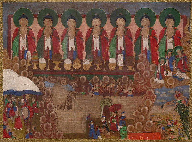 7 identical figures with black hair and thin green whiskers wearing red, green, blue and white robes; candles and food on long table; brown clouds divide lower scenes 12 men dancing and playing a drum and cymbals in LL corner; man tied to a bench being flogged by 2 men with 3 other figures and demons and flames behind wall at center; figure's being thrown by demon into pit of snakes at LR corner