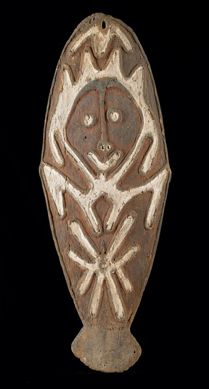 Ancestral Tablet (gope) wood with red, brown and white pigments; H.39-1/4 in., W.16 in. From Meagoma village, Wapo area.