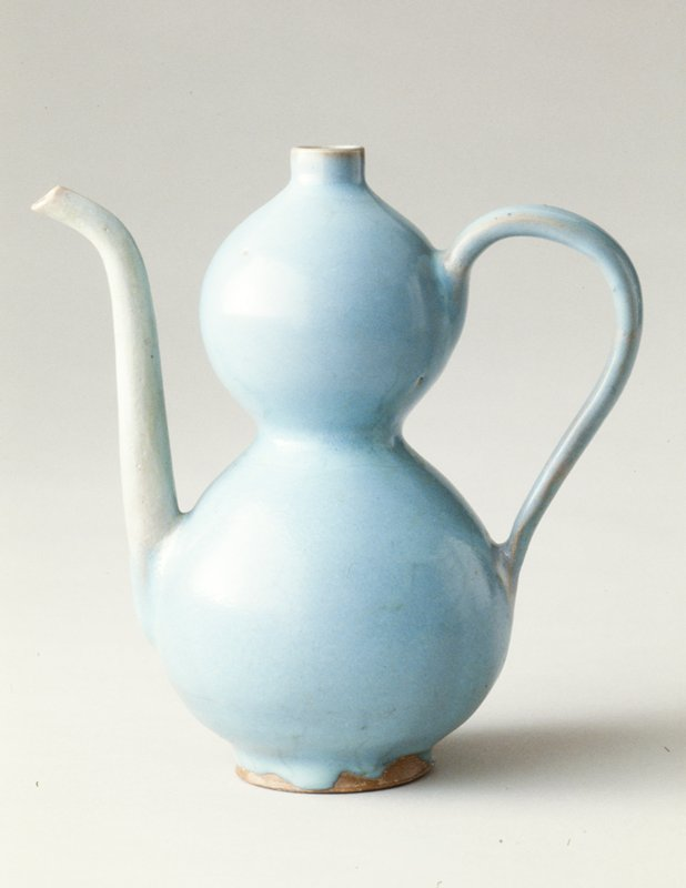 double gourd-shaped ewer, Sung Dynasty, Chun ware; porcelaneous stoneware with blue glaze