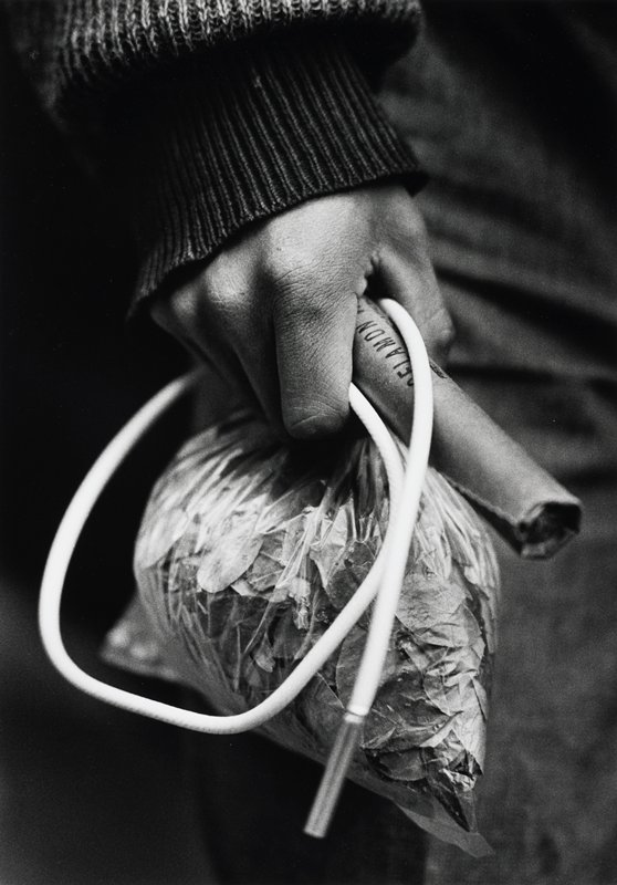 man's hand holding a bag of tobacco (?) leaves and a white tube