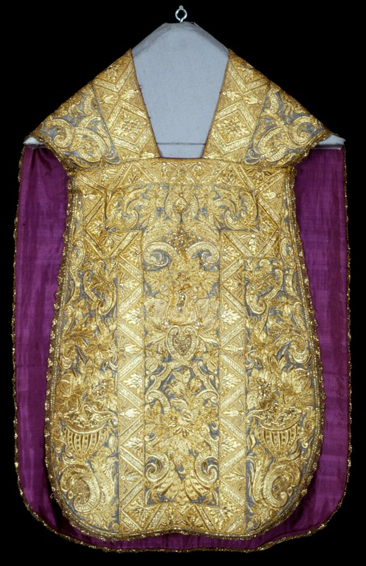 Chasuble, Rococo. Embroidered with gold metallic threads, lined with purple silk.