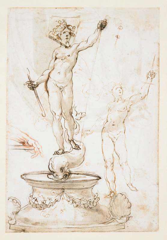 mounted on ivory paper; study for a sculpture of a standing male in a contrapposto pose, with PL arm held up; each hand holding a staff; figure stands on a dolphin on top of a base with shells and foliate swags; another smaller figure study in same pose at right; study of a hand holding a staff in red chalk at left