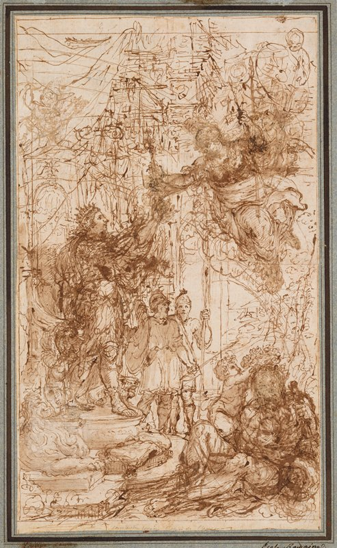 mounted to blue sheet with black borders; heavily-worked sketch with standing crowned figure at left, reaching out to a floating figure in URC holding spears; seated figure in LRC being crowned by a putto; standing soldiers at center; some architectural details