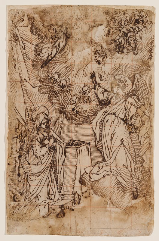 recto: angel standing on cloud at right, with PR arm upraised; kneeling Mary at left with wrists crossed, hands on chest; cherubs in clouds overhead; another smaller angel, ULC; squared off in a grid in red; received framed; see 2012.58.39b for verso