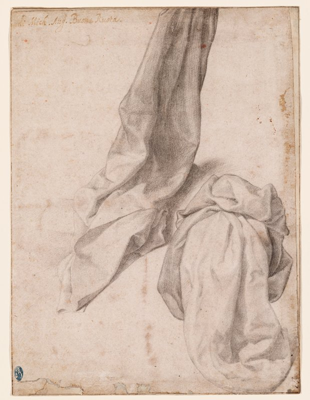 recto: study of drapery folds in black chalk; verso not examined (received framed)