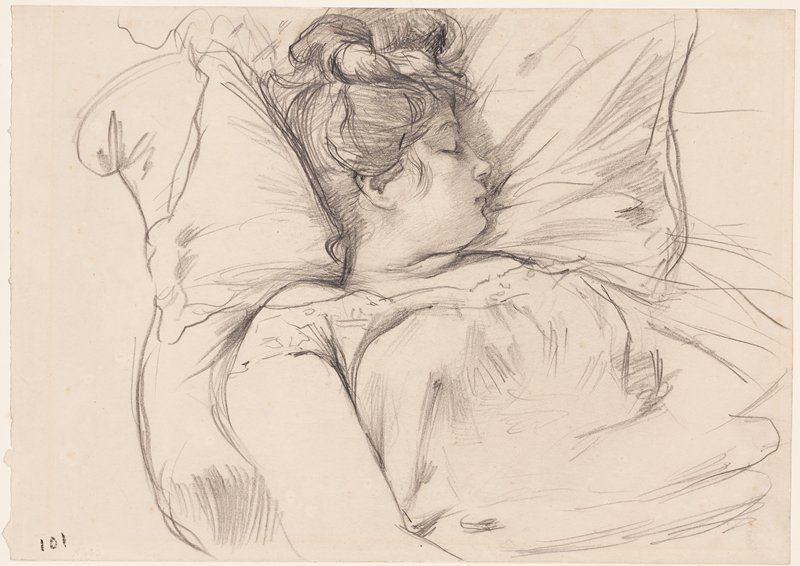 mounted on ivory paper with brown borders; portrait of a sleeping woman with her head turned in profile to PL; woman has dark hair piled on top of her head and has her head resting on pillow