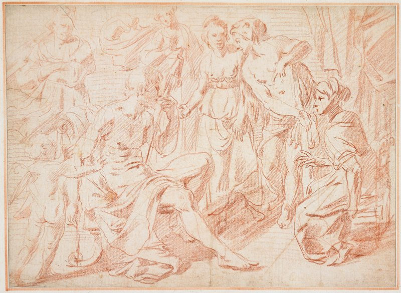 mounted on ivory sheet with pale red borders; seated man at left; seated woman at right; four standing figures in background; curtain at right; heavy shadow across center bottom; putto in LLC