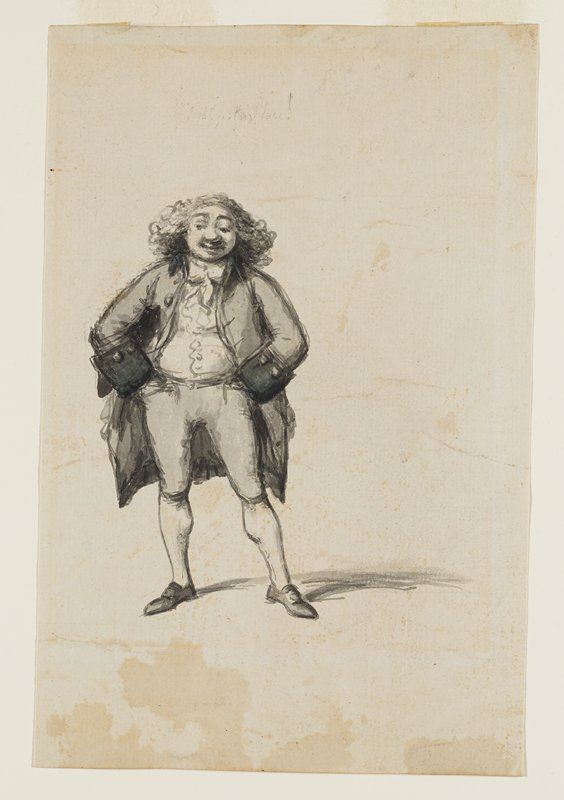 standing figure wearing long jacket with wide cuffs and knickers, with medium-length curly hair and a large nose, with hands in his pants pockets; very light, illegible inscription above figure's head