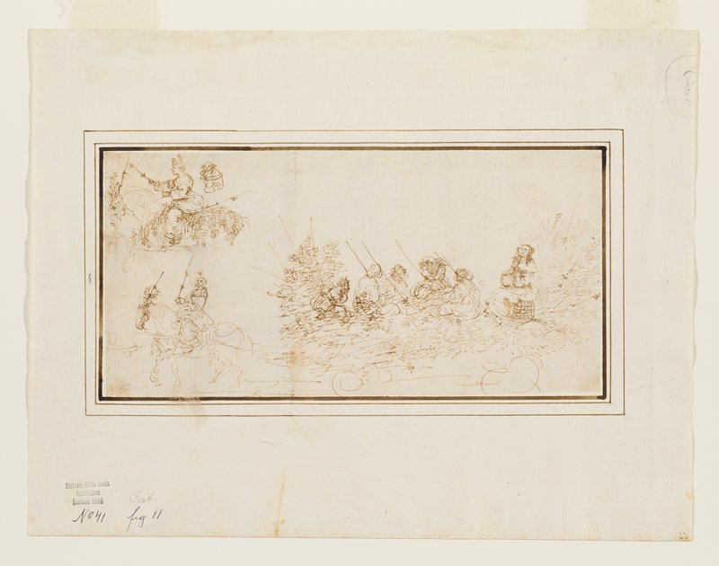 mounted to ivory sheet with brown borders; ivory and green overmat with tan and gold borders; sketch; cart at bottom drawn by a horse with its rider wearing a mask and carrying a switch; five seated figures on cart and one women wearing a mask (or female scarecrow figure?) seated on a stool at back of cart; sketch of a man on horseback in ULC; small portrait of the head and torso of a masked woman behind horseman