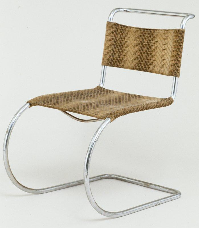 designed 1927, chrome-plated tubular steel w/ org. woven wool upholstery