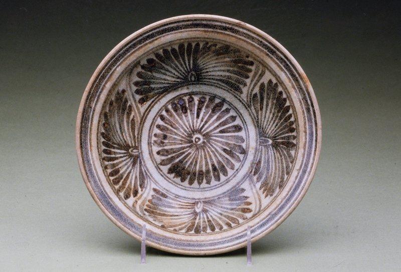 Kalong Plate, stoneware with underglaze floral decor.