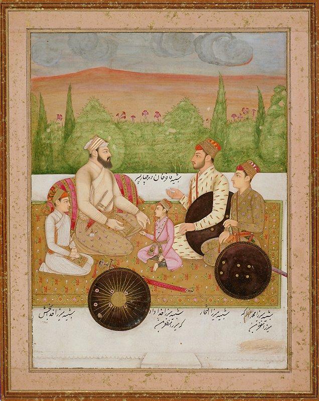 Fakir Khan, Mirza Iftikhar, Mirza Muhammad Azam, Mirza Khuda Bakhsh, and Mirza Khudabad on a floral rug on a terrace with trees behind.