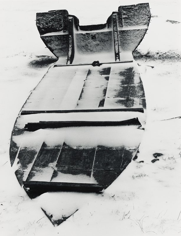bottom and back of boat in the snow