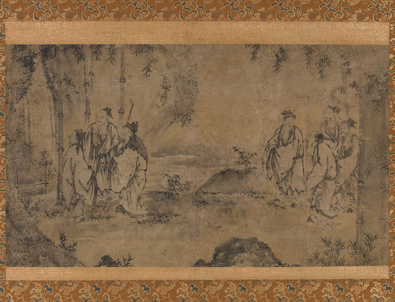 two groups of Chinese scholars in garden landscape; three men at L by bamboo trees looking to L; four men at R conversing; bamboo trees in background; rock bottom center; stream in background
