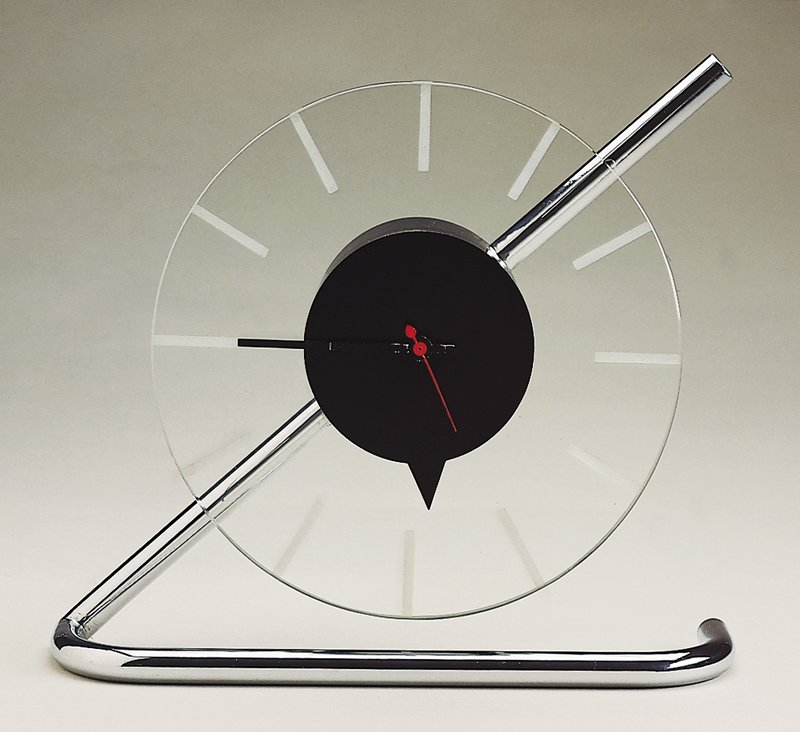 Black center with clear perimeter (clockface) on a metal stand