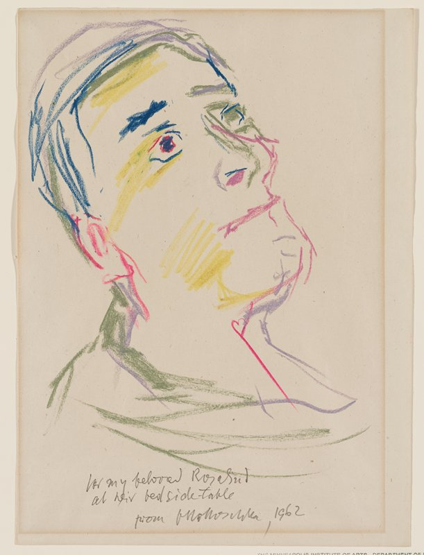 head of a man in 3/4 view, turned slightly toward PR, looking up; neutral mouth; multicolors