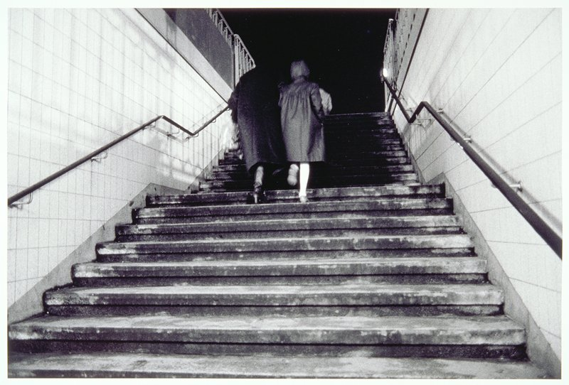 stairway, woman and child
