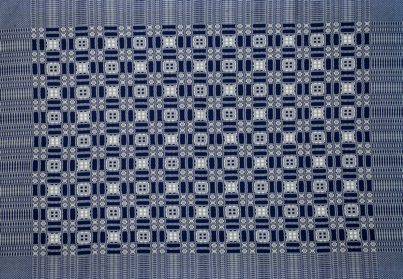 blue and white with blue hand-woven binding