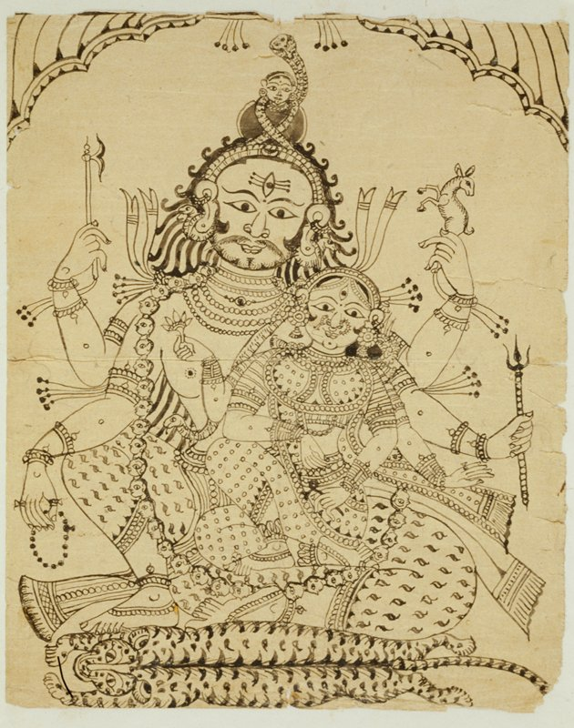 Shiva sits with Parvati on top of a flayed tiger skin. Shiva wears a necklace of human heads and holds an antelope in his upper left hand, a blade in his upper right, a trident in his lower left, and rudraksha beads in his lower right.