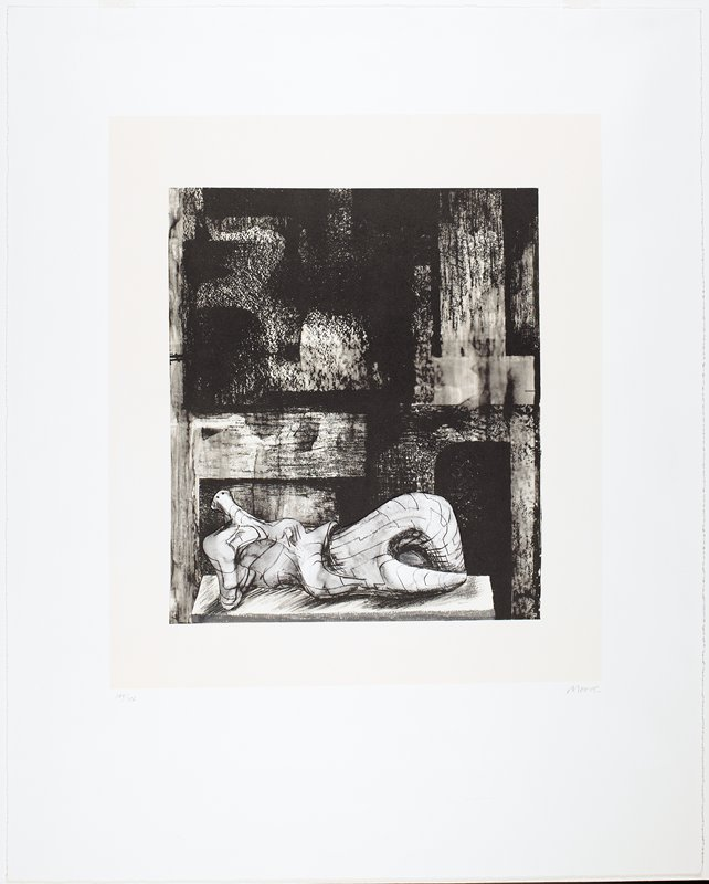 abstracted sculptural form of a figure reclining with one knee up in foreground; abstracted background with blurred areas and shapes with various shading; black, white and cream