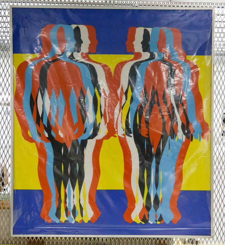 (Found in Collection 3/27/96) multiple profiles of a man and a woman facing each other; profiles are orange, black, blue, and white; background blue stripes at top and bottom; yellow band at center; steel frame
