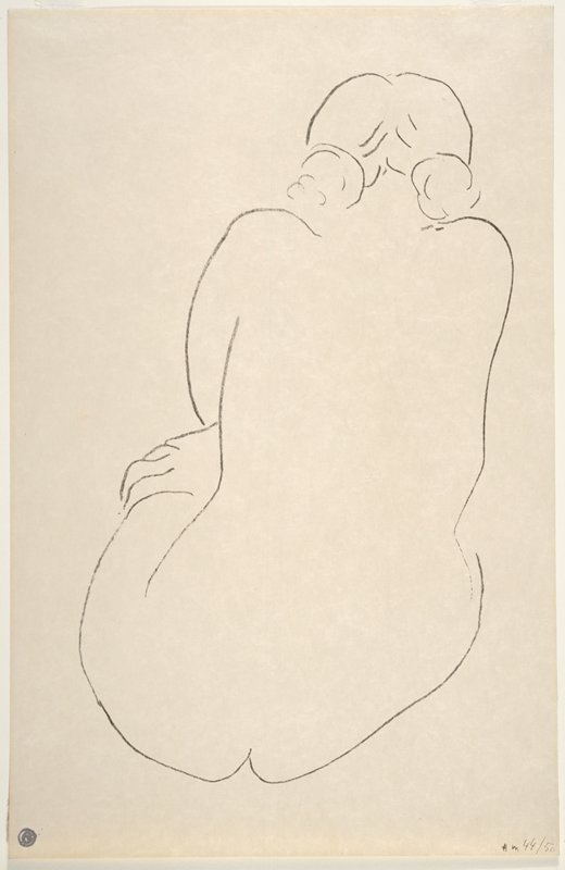 line drawing style; seated figure with PR hand on PL thigh; hair in two buns at nape of neck