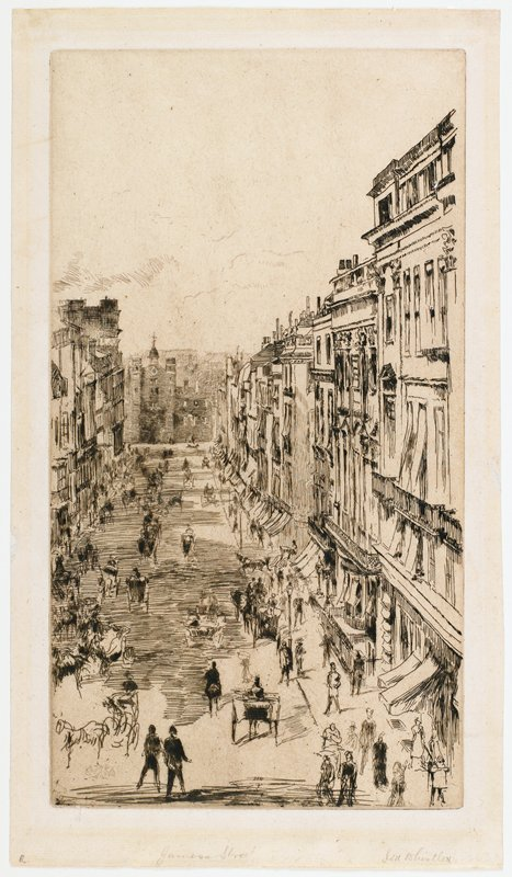 view down onto a city street filled with carriages and pedestrians; various buildings along street; sketchy style