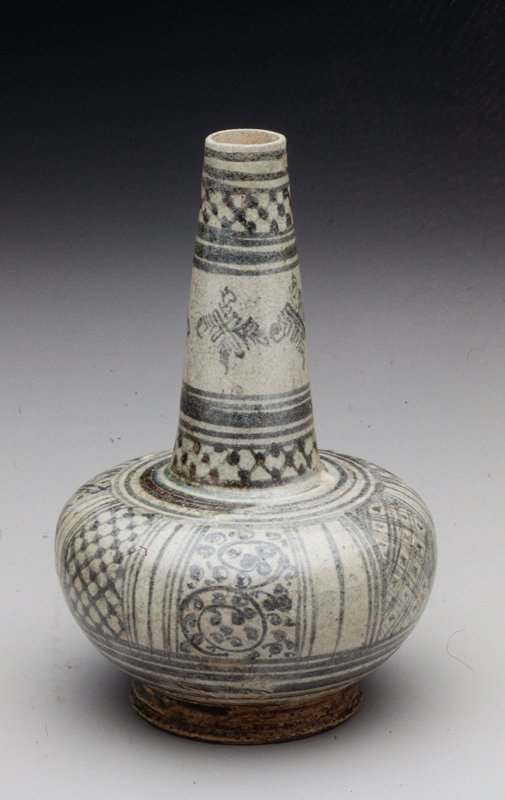 bottle jar stoneware with underglaze designs, Thailand; The bulbous lower portion divided into seven panels, each field with a geometric pattern; neck has three rings of geometric patterning similar to below and many bands