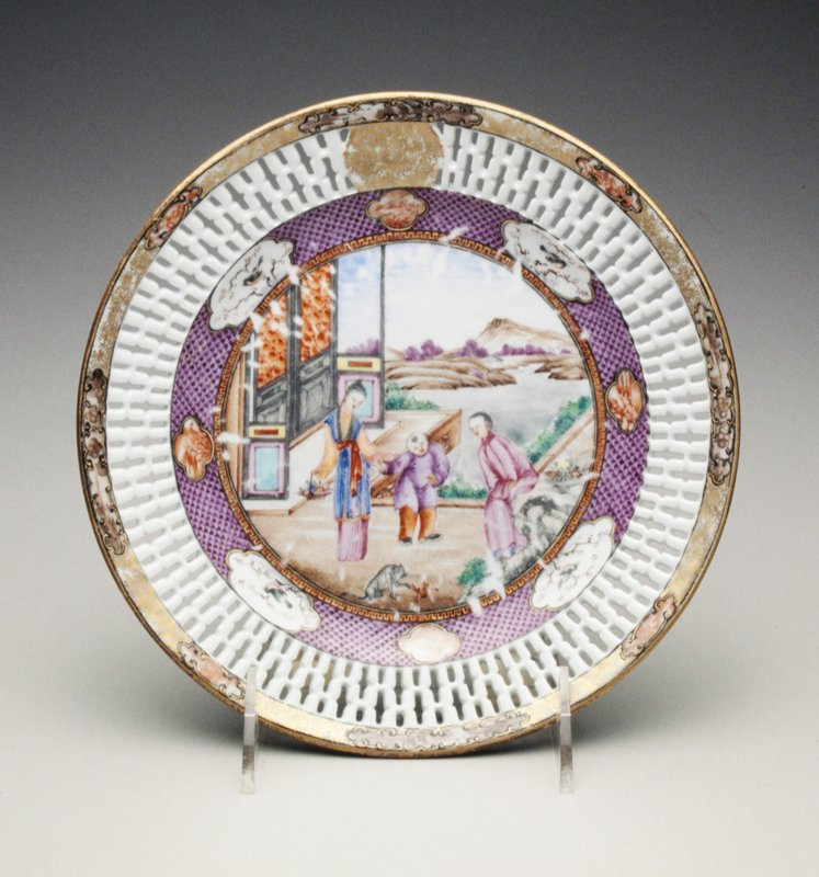 Rockefeller pattern; enamelled with famille rose ladies, children and sages beside a pavilion on terraces; borders pierced with H pattern