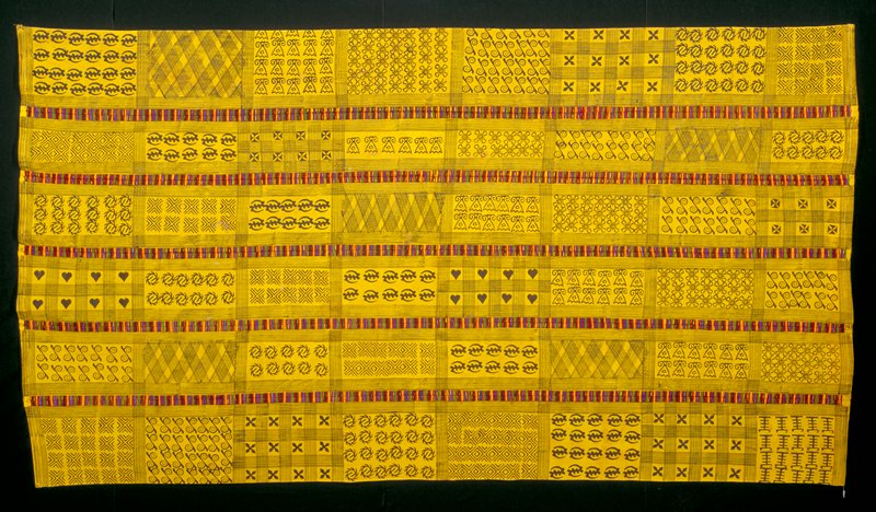 yellow ground with calabash block print design in commercial black dye; six panes embroidered at each seam