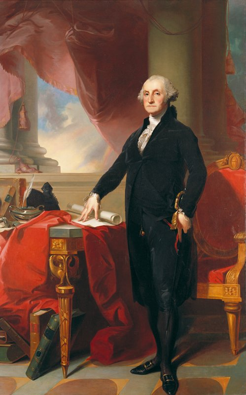 Portrait. George Washington in red drapery, black costume with white frills.