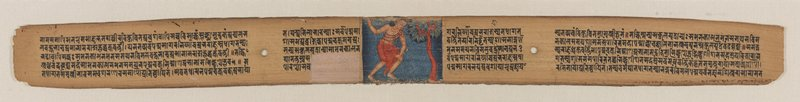 central miniature depicting the young Sudhana in the forest at night during his quest for enlightenment; five lines of sanskrit text interspersed by two binding holes and central miniature