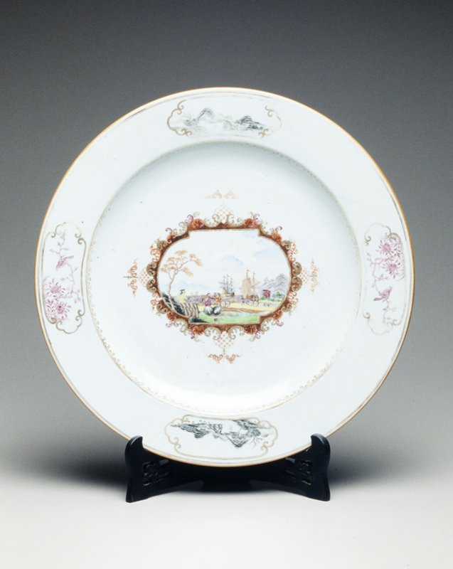 Chinese export porcelain charger painted after C.F. Herold with figural scene of moving cargo; gilt feather scroll and spearhead border with Oriental landscapes and pershed birds