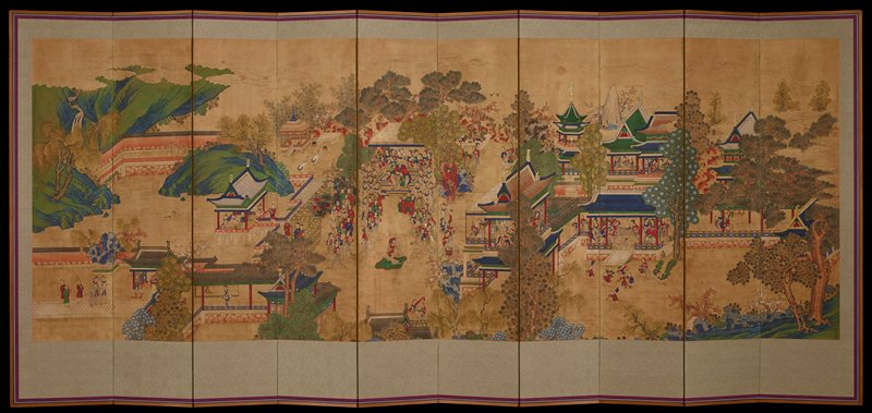 new frame and border; central seated male with two children next to him, surrounded by people in a garden; scattered groups of people within nearby buildings and out of doors engaged in activities. Chosun dynasty.
