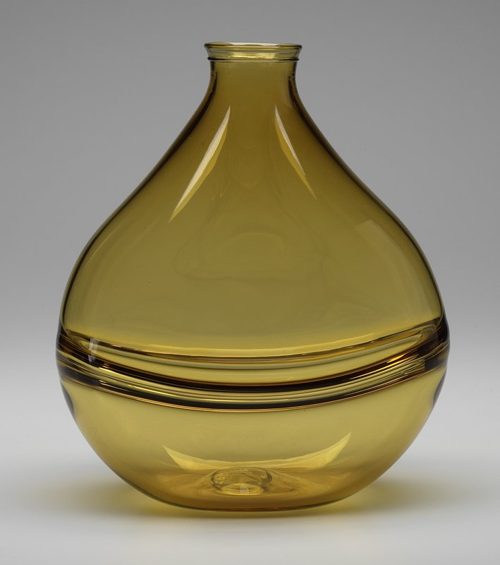 amber glass; teardrop shape with flat sides