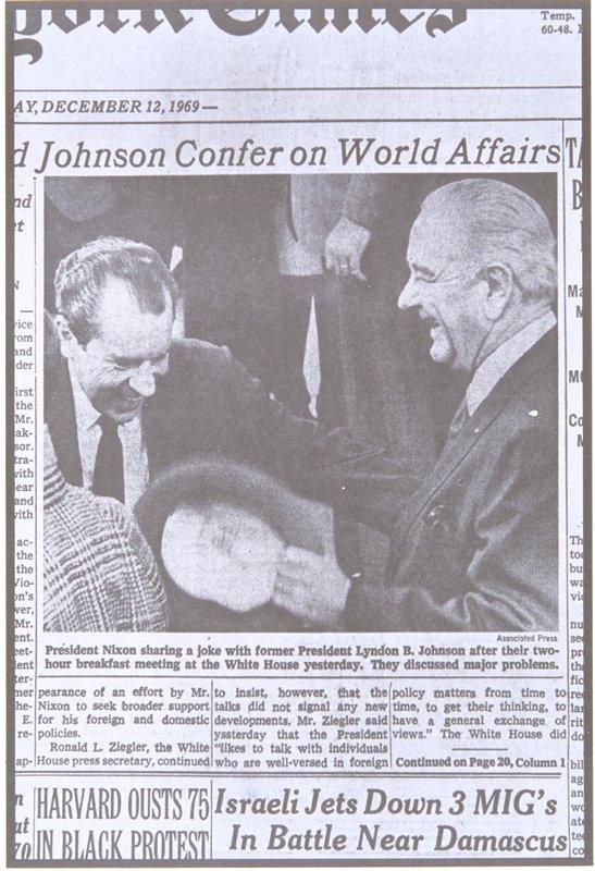 newspaper photograph of Richard Nixon and Lyndon B. Johnson