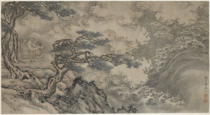 hanging scroll with image mounted sideways; stormy sea at right side; two pine trees and rocky shore frame three deer looking at the sea