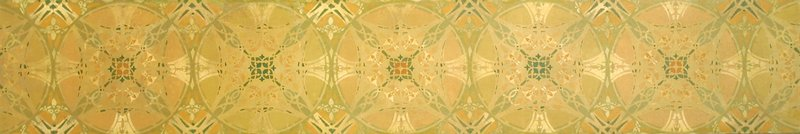 5 complete and 2 half-circle designs with organic and geometric elements; tans, oranges, greens and cream