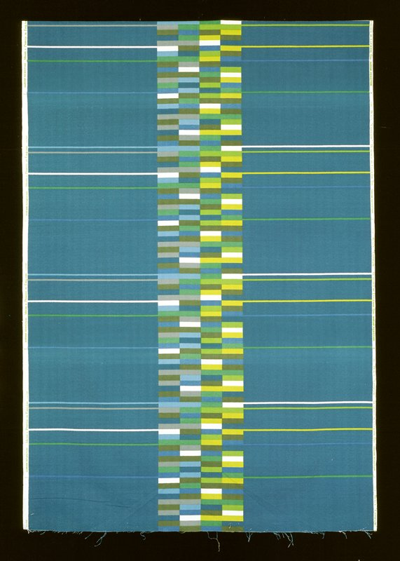 center motif one row with small rectangles, shade of three blues and two greens, some white; one row with small rectangles shade of four greens, two blues, some white; bkg. blue with horizontal lines