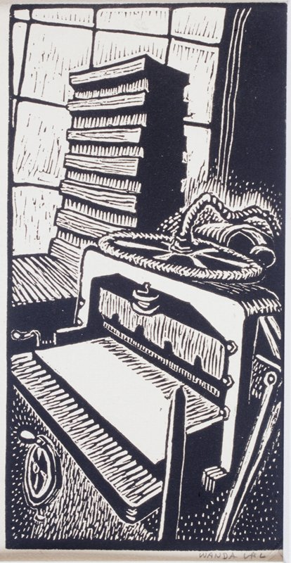 four linoleum block prints depicting printing machinery, used on calendars issued by Spiral Press