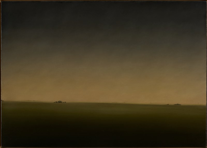 Landscape. Flat landscape with 3 clusters of trees at horizon; telephone poles at horizon in distance; expansive sky, light at horizon.