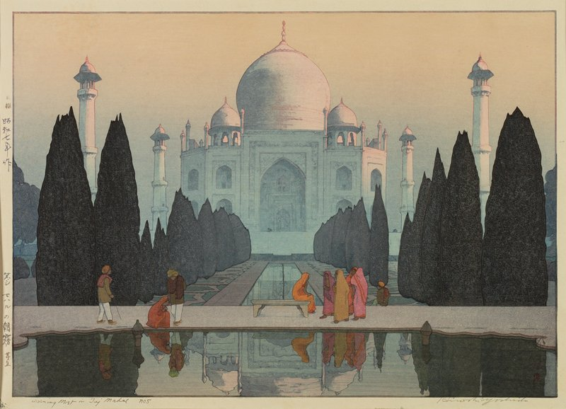9 figures in front of Taj Mahal; pink hue on domes of building