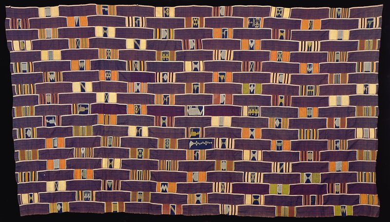 19 strips of purple woven cotton fabric with white stripe on one side; strips decorated with woven designs of stripes and blocks with geometric designs and birds