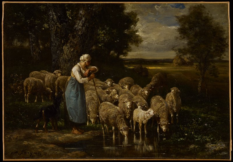 left center foreground stands a shepherdess leaning on her staff and looks into the distance between trees behind her; a flock of sheep stand at her side and behind, grazing and drinking from a small pool of water in the shade of a large tree with v-shaped trunk