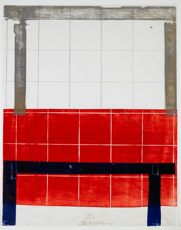 Large square grid with juxtaposing red rectangle in LL and LRQs, and square table in its center; gold horizontal and vertical stripes along upper margin; blue horizontal and vertical stripes along bottom margin