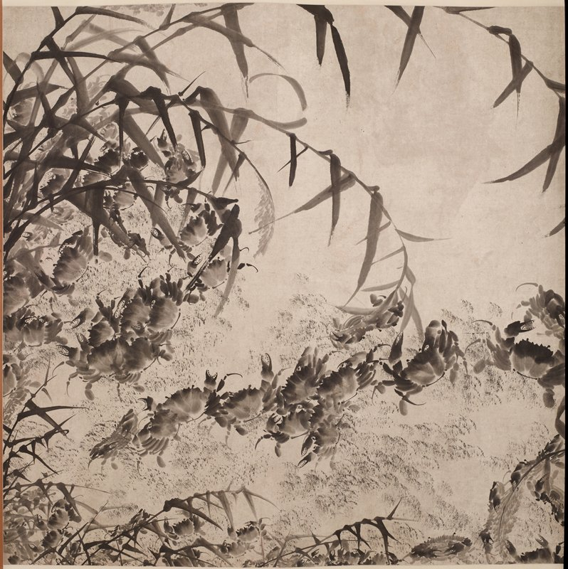 four paintings mounted as two hanging scrolls; crabs crawling amid leaves and stems; inscriptions in ULC