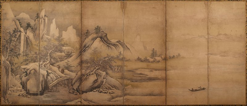 depicting mountains, shoreline and river scenes