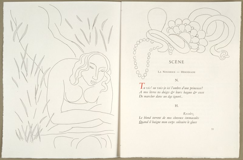 Pages 54-55 from illustrated unbound book Poésies (Poems) by Stéphane Mallarmé with etchings by Henri Matisse