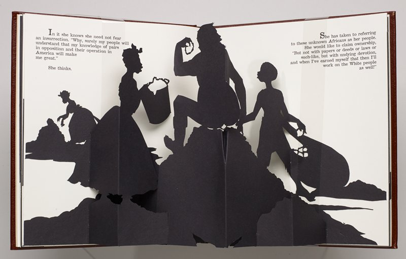 Pop-up silhouette book; binding: maroon buckram covers